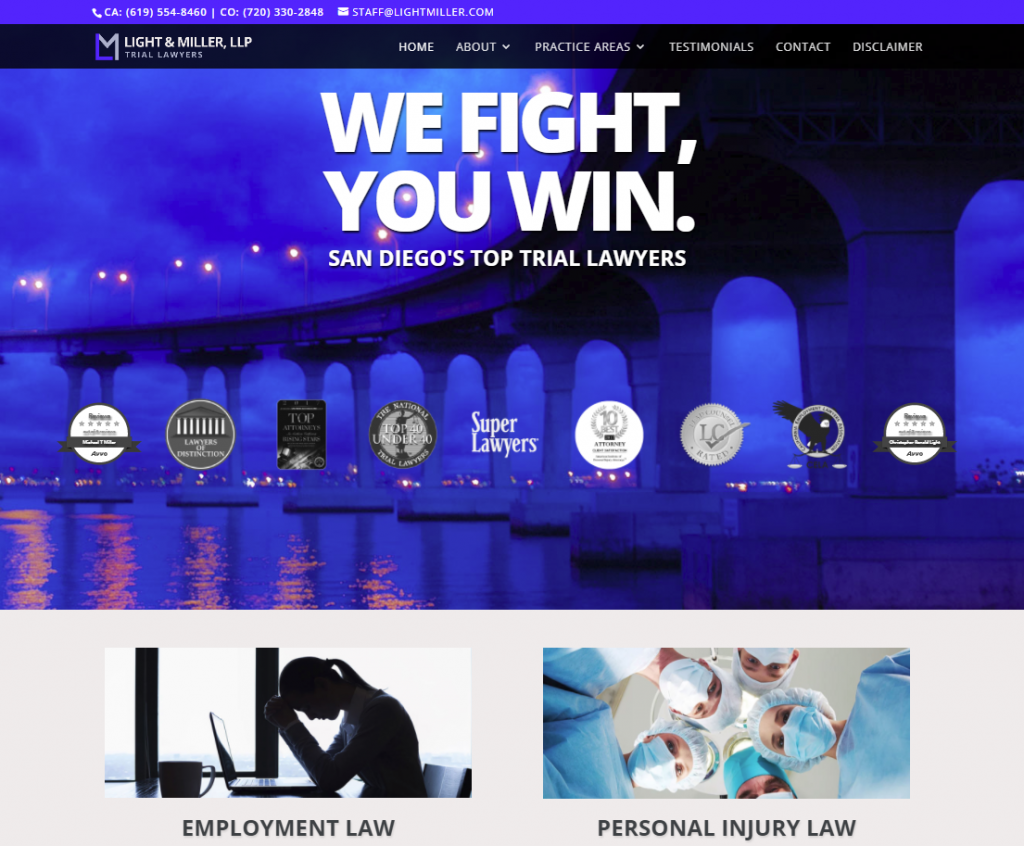 Lawyer Website Design San Diego LightMiller2